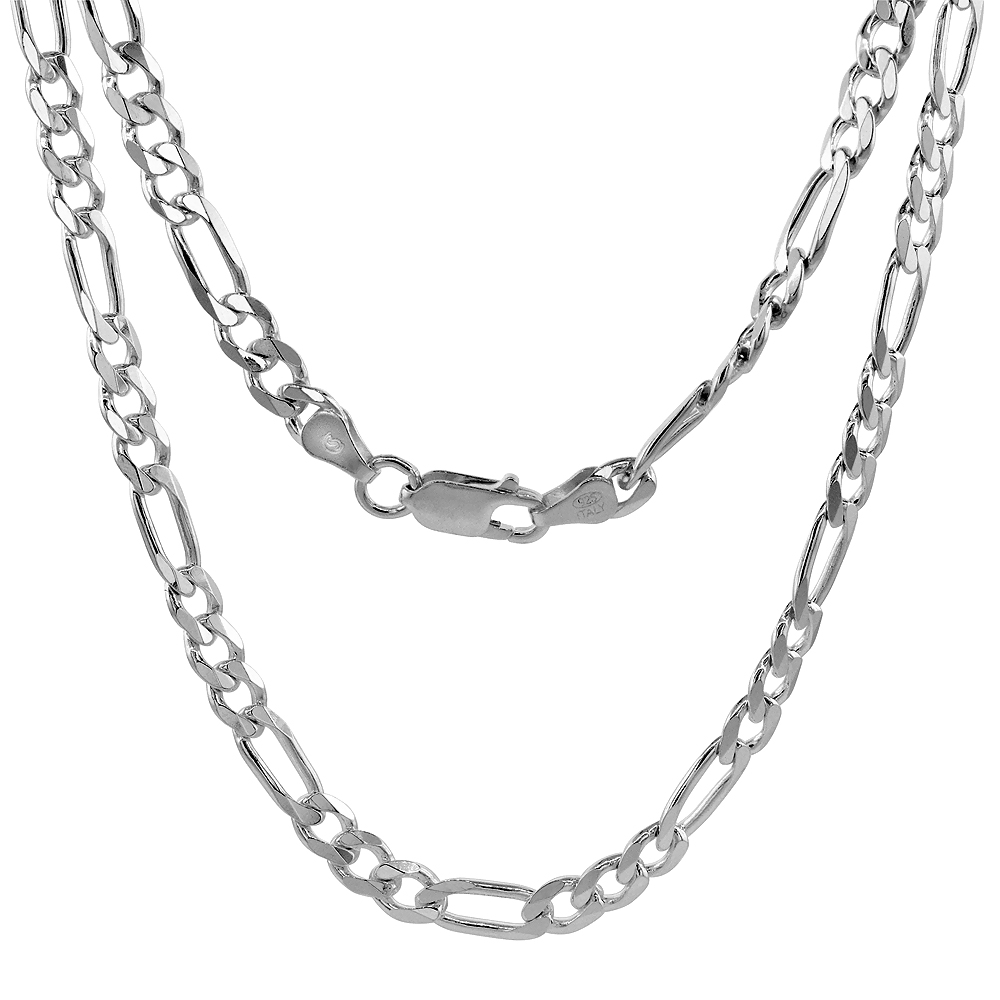 Sterling Silver FIGARO Chain Necklaces & Bracelets 5.5mm Beveled Edges Nickel Free Italy, sizes 7 - 30 inch