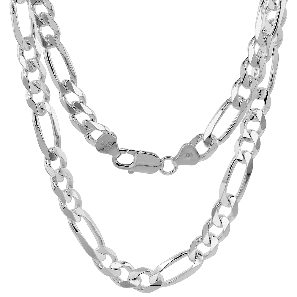 Sterling Silver 1mm - 9mm Figaro Chain Necklace Beveled Edges Nickel Free Italy