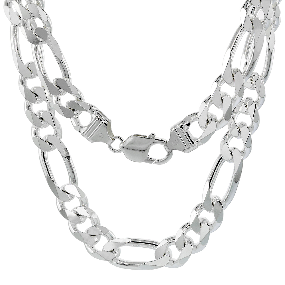 Sterling Silver FIGARO Chain Necklaces & Bracelets 10.7mm Heavy weight Beveled Edges Nickel Free Italy, sizes 8 - 30 inch