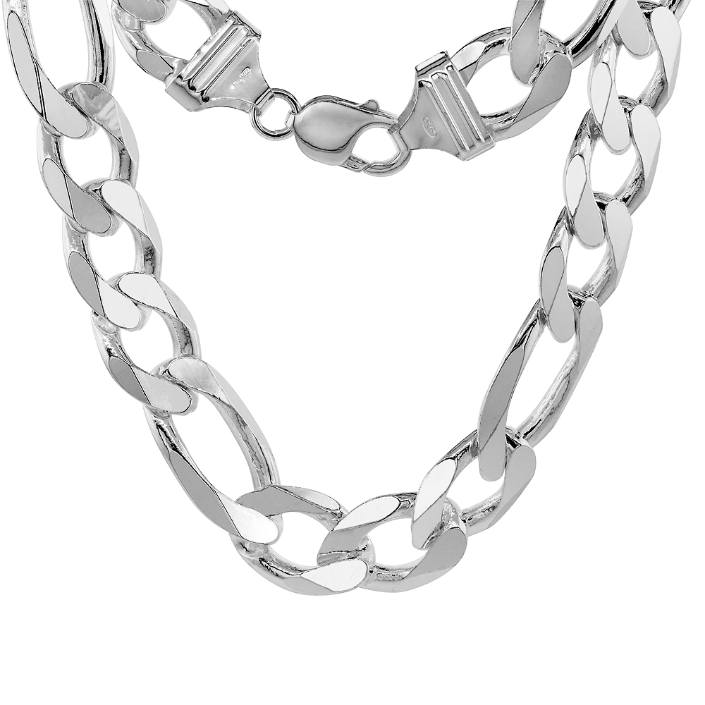 Sterling Silver FIGARO Chain Necklaces & Bracelets 15mm very Heavy weight Beveled Edges Nickel Free Italy, sizes 8 - 30 inch