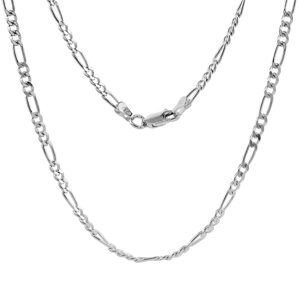 Sterling Silver FIGARO Chain Necklaces & Bracelets 3mm Beveled Edge Nickel Free Italy, sizes 7 - 30 inch