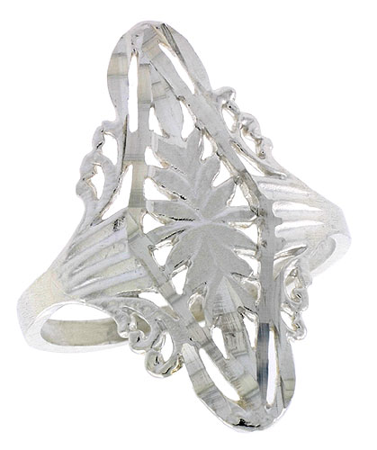 Sterling Silver Diamond-shaped Filigree Ring, 1 inch