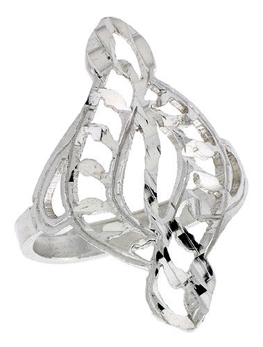 Sterling Silver Swirl Filigree Ring, 1 inch