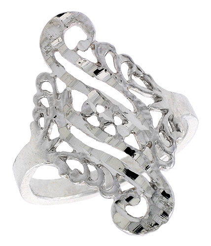 Sterling Silver Double Swirl Filigree Ring, 3/4 inch