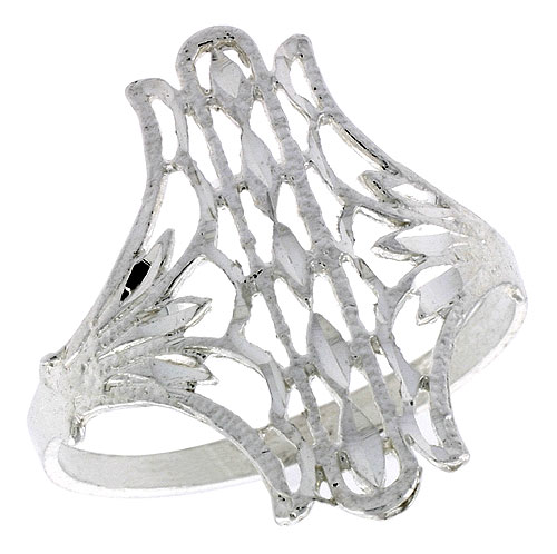 Sterling Silver Fan-shaped Filigree Ring, 3/4 inch