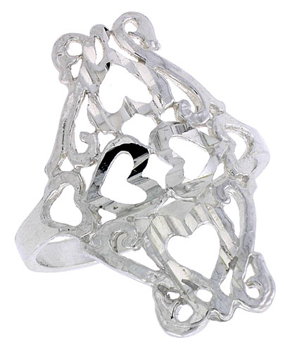 Sterling Silver Heart Cut-outs Filigree Ring, 3/4 inch