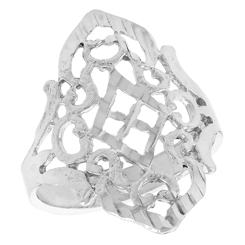Sterling Silver Diamond-shaped Filigree Ring, 3/4 inch
