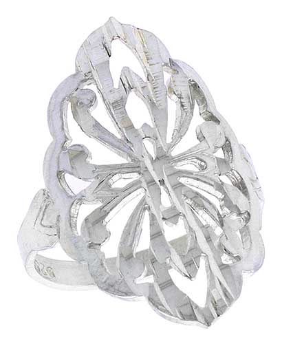 Sterling Silver Diamond-shaped Floral Filigree Ring, 7/8 inch