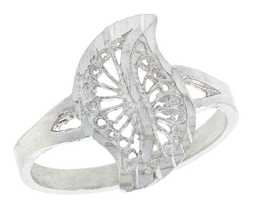 Sterling Silver Leaf-like Swirl Filigree Ring, 5/8 inch