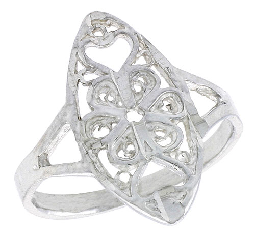 Sterling Silver Navette-shaped Floral Filigree Ring, 3/4 inch, w/ Heart Cut-outs