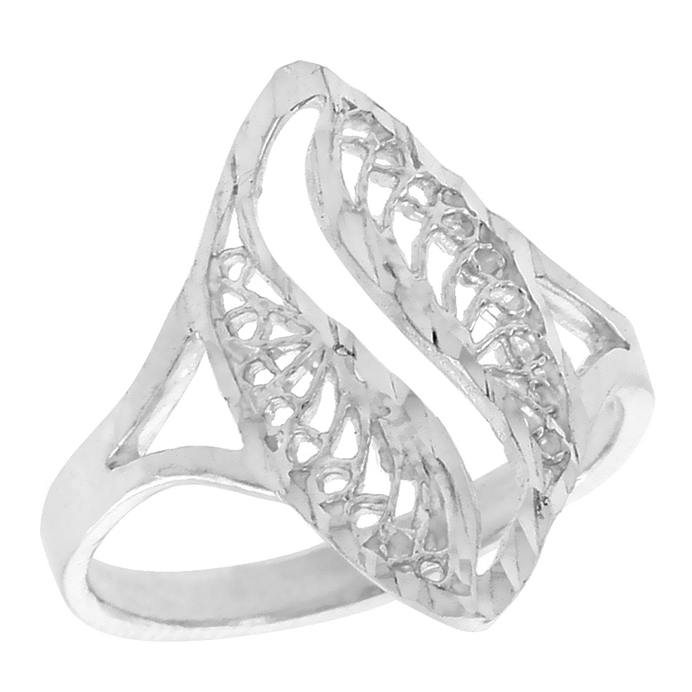 Sterling Silver Navette-shaped Filigree Ring, 3/4 inch, w/ Swirl Cut-out