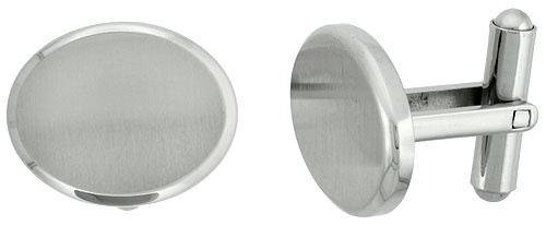 Stainless Steel Plain Oval Cufflinks Satin Finished 3/4 x /8 in.