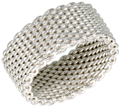 Sterling Silver Heavy Mesh Ring Handmade 5/16 inch wide, sizes 5 - 11