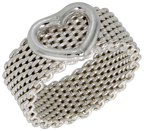 Sterling Silver Heavy Mesh Ring w/ Heart Handmade 5/16 inch wide, sizes 5 - 11