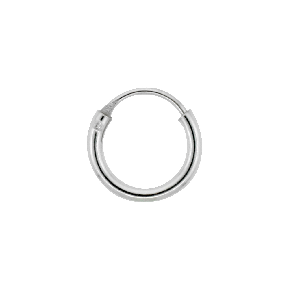 10 Pairs Sterling Silver Teeny Endless Hoop Earrings for cartilage, Nose and lips, 5/16 inch round