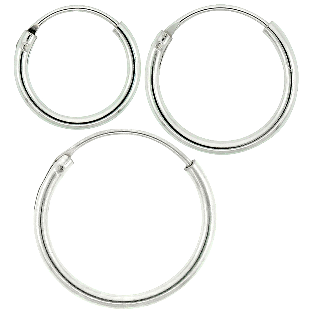 Sterling Silver 14mm 16mm 18mm Small Endless Hoop Earrings Set