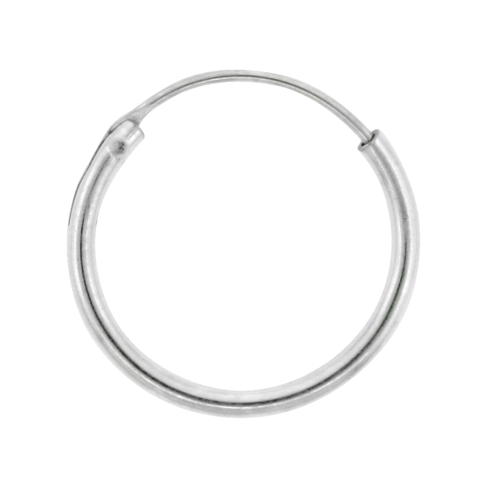 Sterling Silver Endless Hoop Earrings for men and women, thin 1 mm tube 1/2 inch round