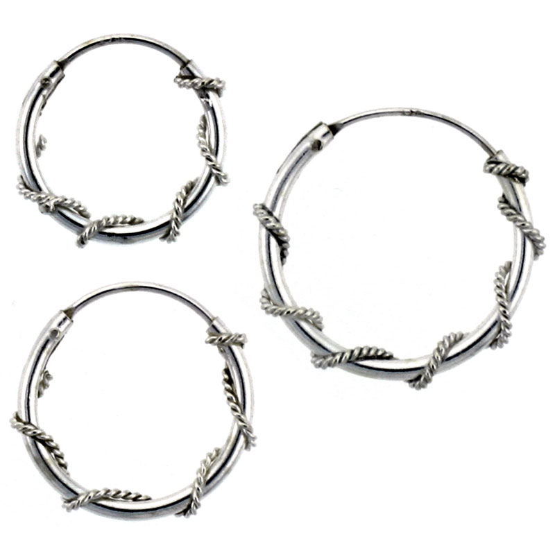 Sterling Silver 14mm, 16mm & 18mm Rope Wire Wrapped Endless Hoop Earrings 3 pair Set