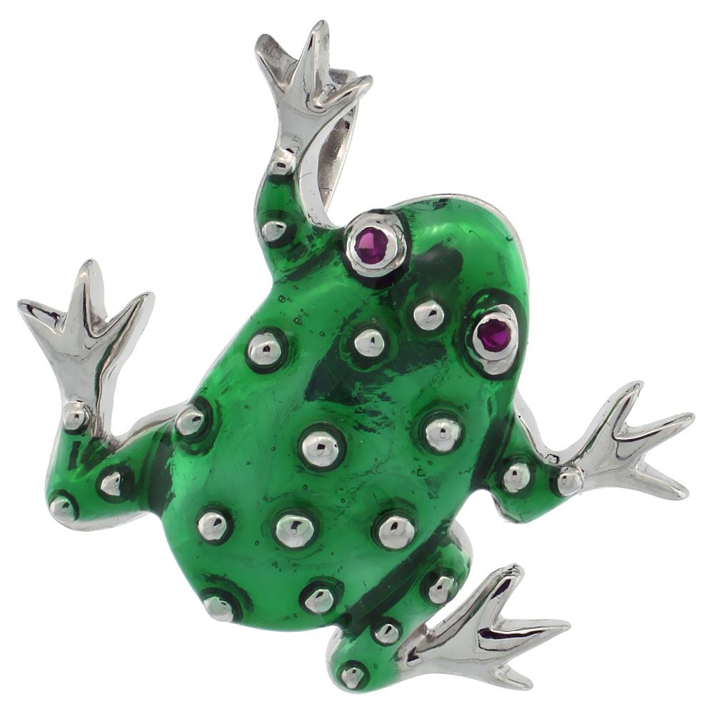 Sterling Silver Green Enamel Frog Pendant, 1 1/8 in. (29 mm) tall