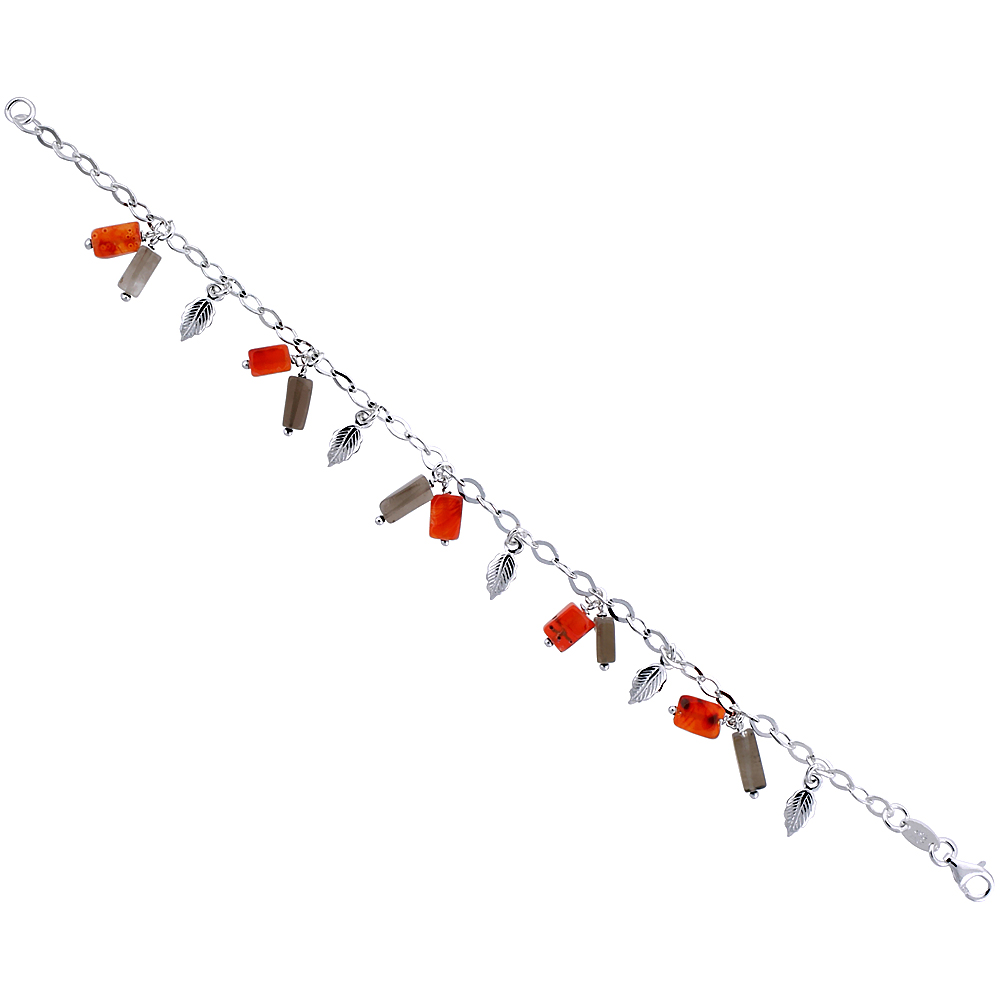Sterling Silver Italian Bracelet for Women Dangling Charms w/ Dangling Leaves and Natural Carnelian & Smoky Topaz Stones 1/2 inc
