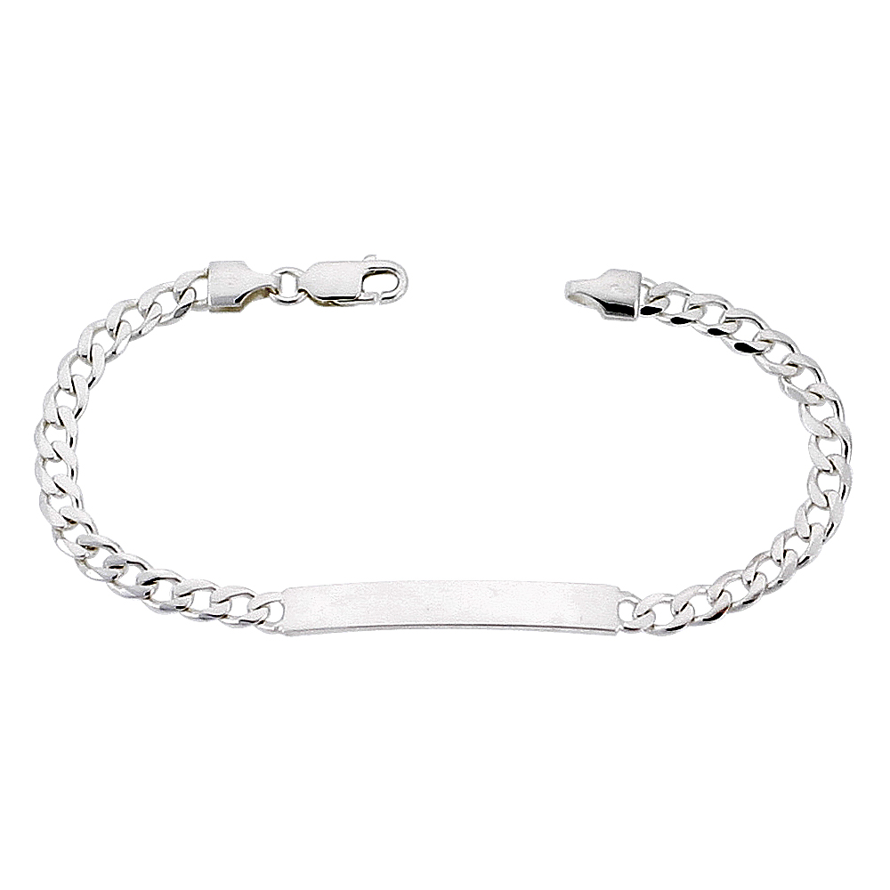 Sterling Silver ID Bracelet Curb Link Small 3/16 inch Nickel Free Italy, sizes 7 - 8 inch