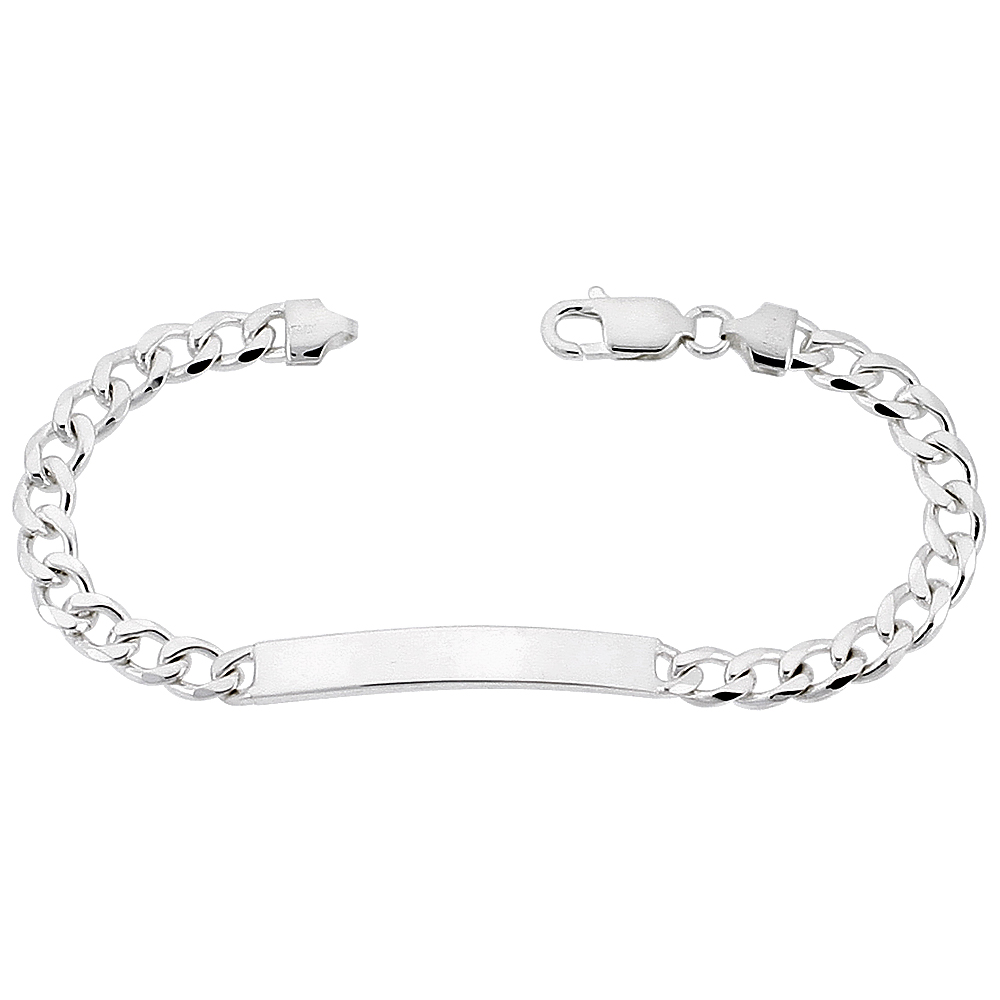 Sterling Silver ID Bracelet Curb Link 1/4 inch wide Nickel Free Italy, sizes 7 - 9 inch