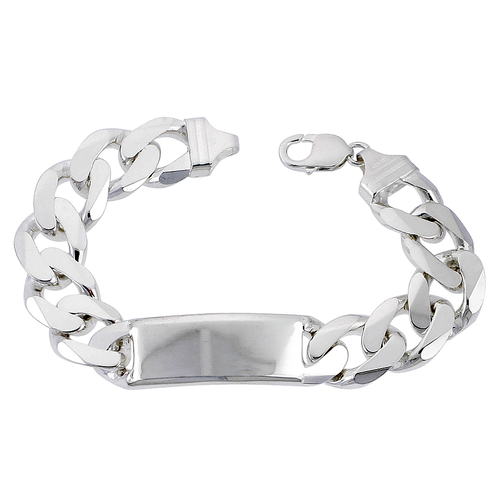 Sterling Silver ID Bracelet Curb Very Heavy 11/16 inch wide Nickel Free Italy, 9 inch