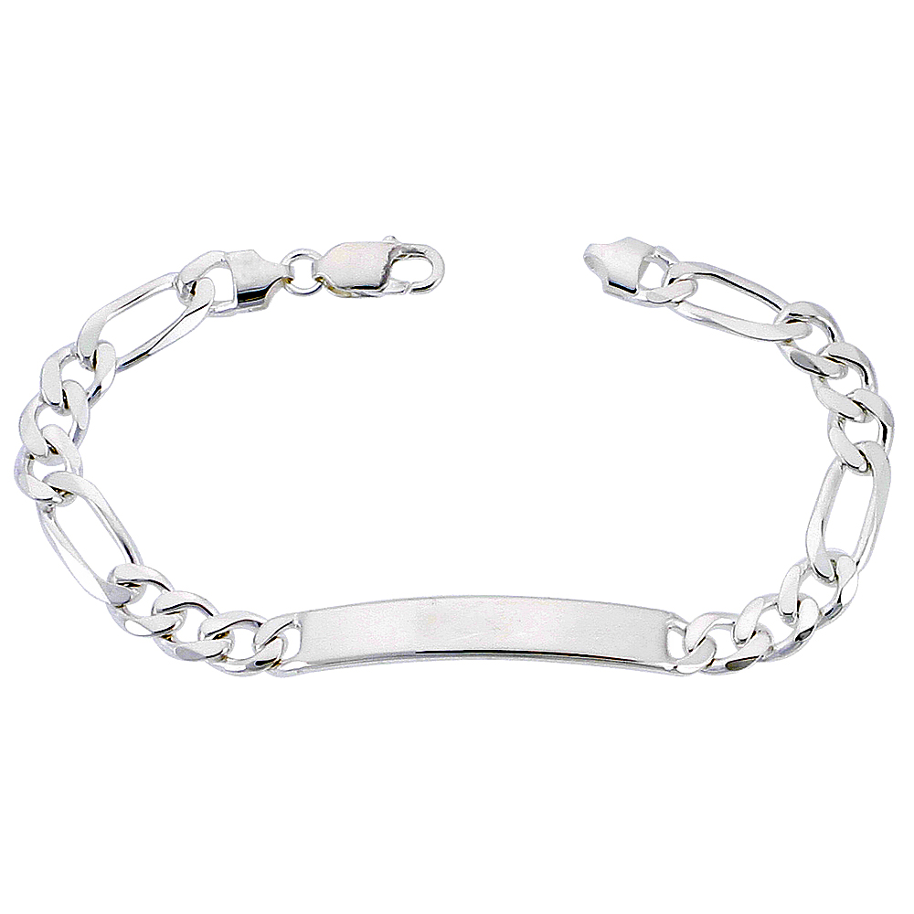 Sterling Silver ID Bracelet Figaro Link 5/16 inch wide Nickel Free Italy, sizes 7 - 9 inch