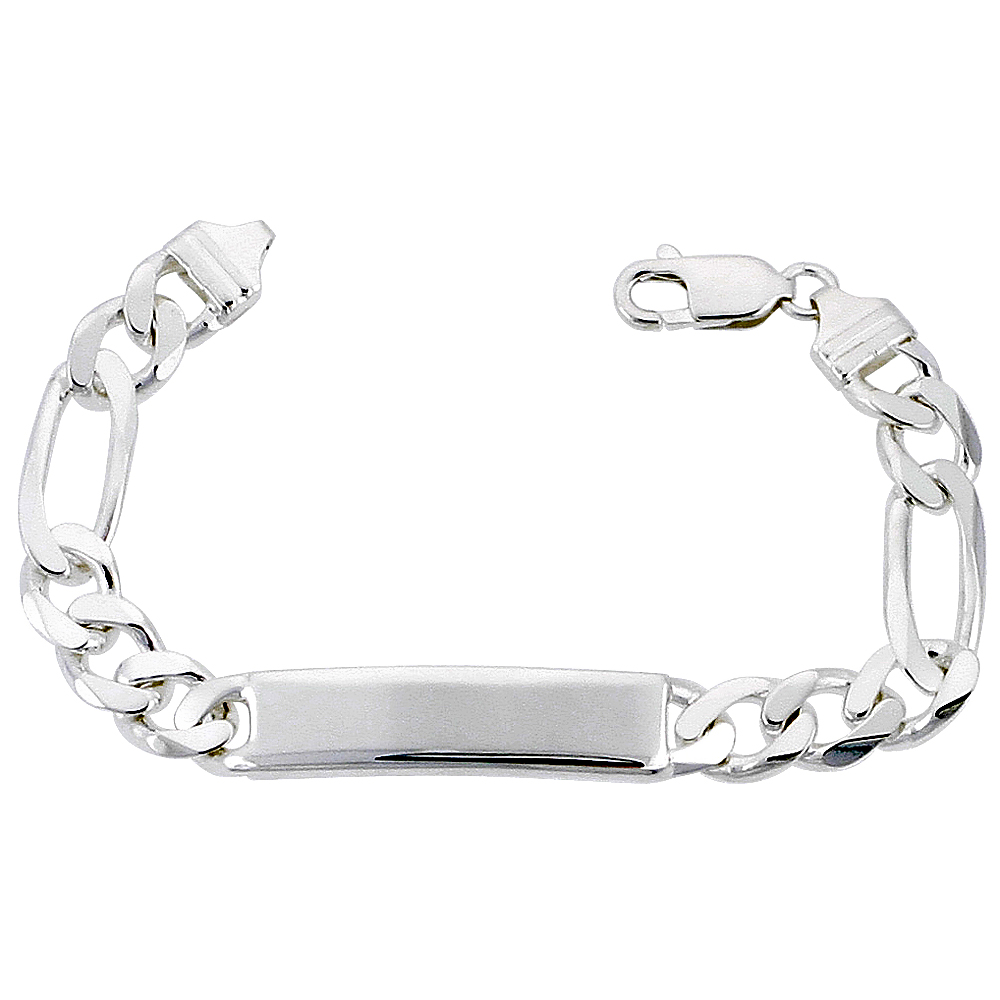 Sterling Silver ID Bracelet Figaro Link 3/8 inch wide Nickel Free Italy, sizes 7 - 9 inch
