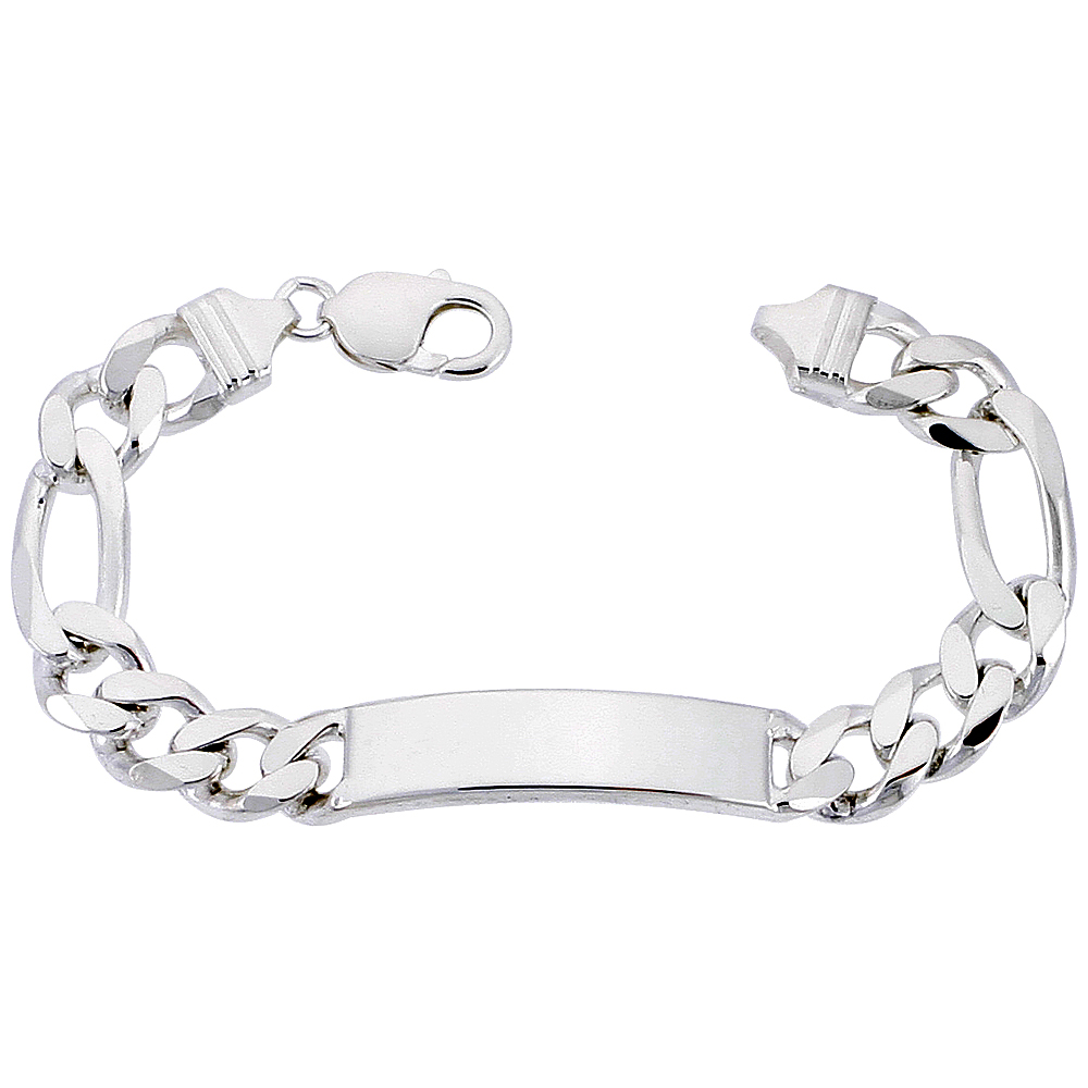 Sterling Silver ID Bracelet Figaro Link 3/8 inch wide Nickel Free Italy, sizes 8 -9 inch