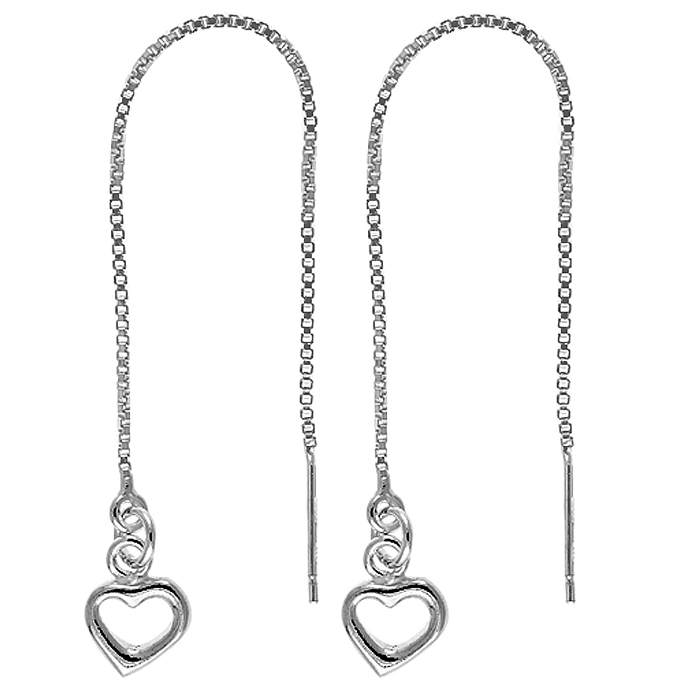 Sterling Silver Threader Earrings Heart Dangle 4 1/4 inch long