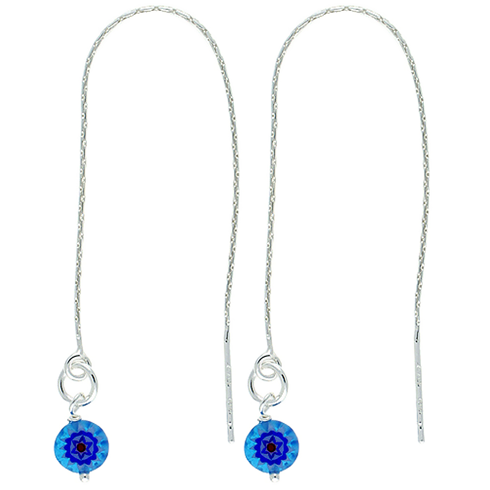 Sterling Silver Dangle Blue Venetian Glass Threader Earrings for Women Italy 4 1/2 inch long