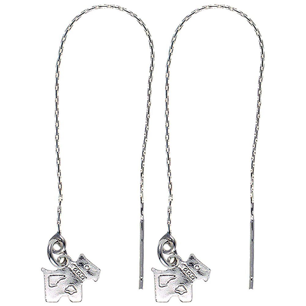 Sterling Silver Dangle Scottie Dog Threader Earrings for Women Italy 4 1/2 inch long