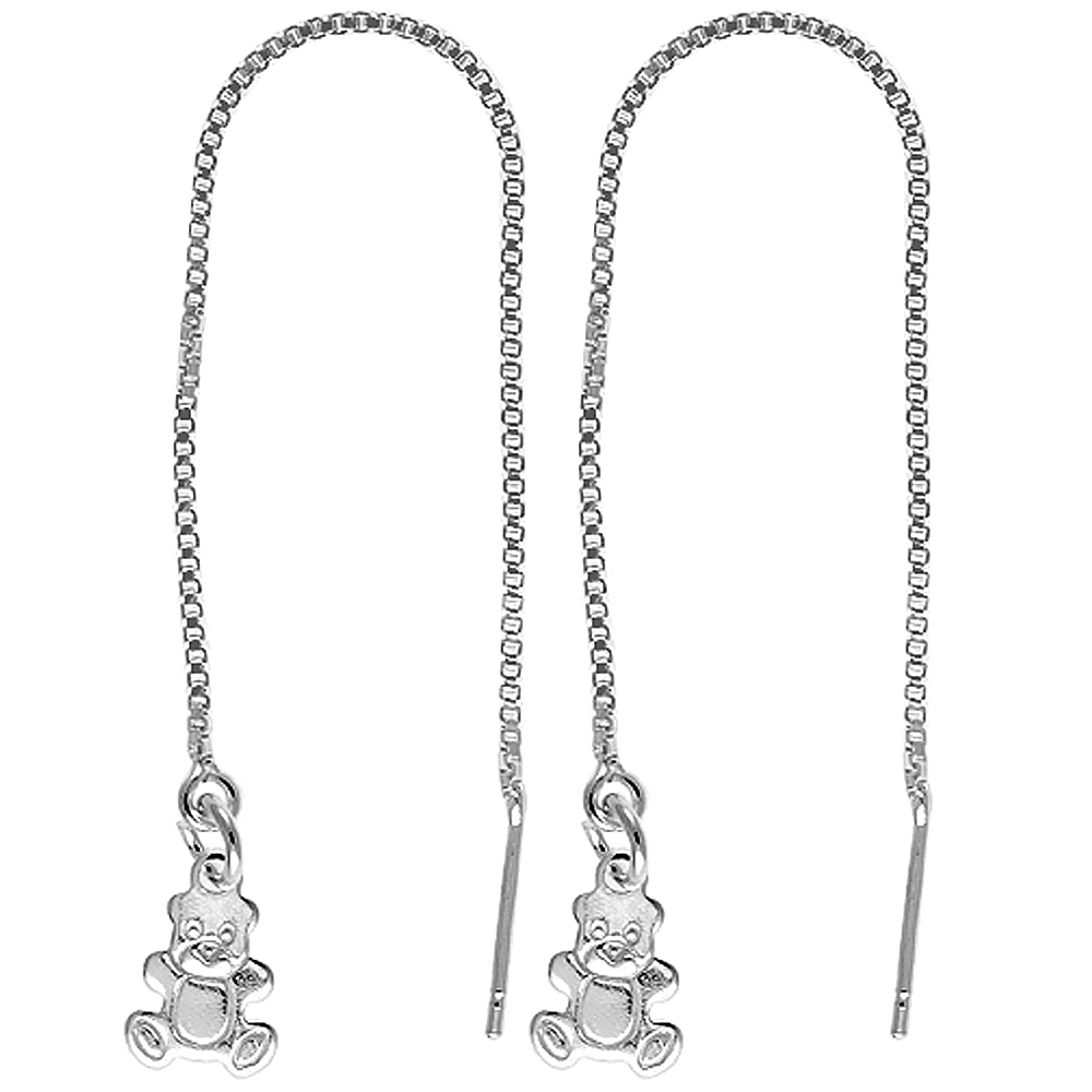 Sterling Silver Dangle Teddy Bear Threader Earrings for Women Italy 4 1/2 inch long