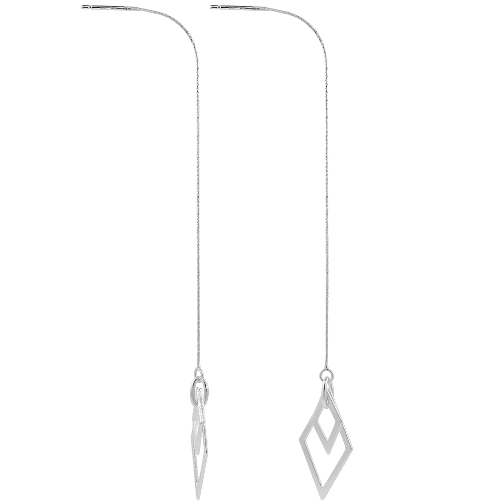 Sterling Silver Threader Earrings Diamond shape Dangle 4 1/2 inch long