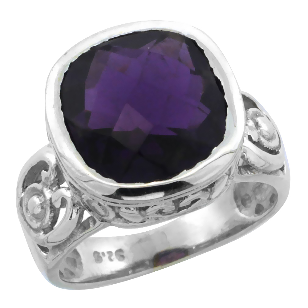 Sterling Silver Bali Inspired Square Filigree Ring w/ 11mm Cushion Cut Natural Amethyst Stone, 9/16 in. (14 mm) wide