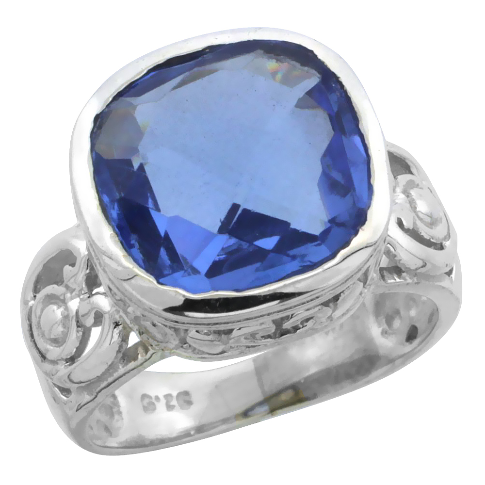 Sterling Silver Bali Inspired Square Filigree Ring w/ 11mm Cushion Cut Natural Blue Topaz Stone, 9/16 in. (14 mm) wide