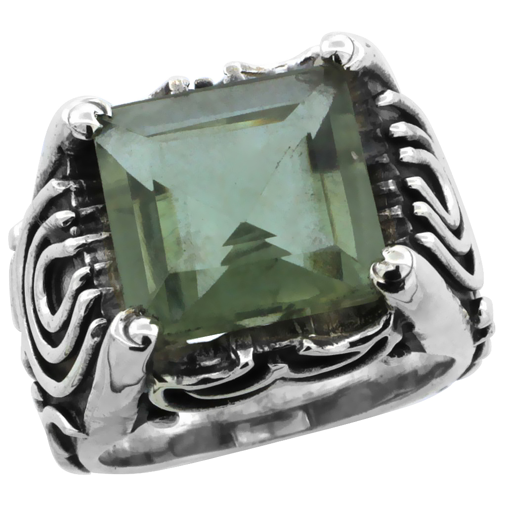Sterling Silver Bali Inspired Horseshoe Design Square Ring w/ 12mm Princess Cut Natural Green Amethyst Stone, 19/32 in. (15 mm)