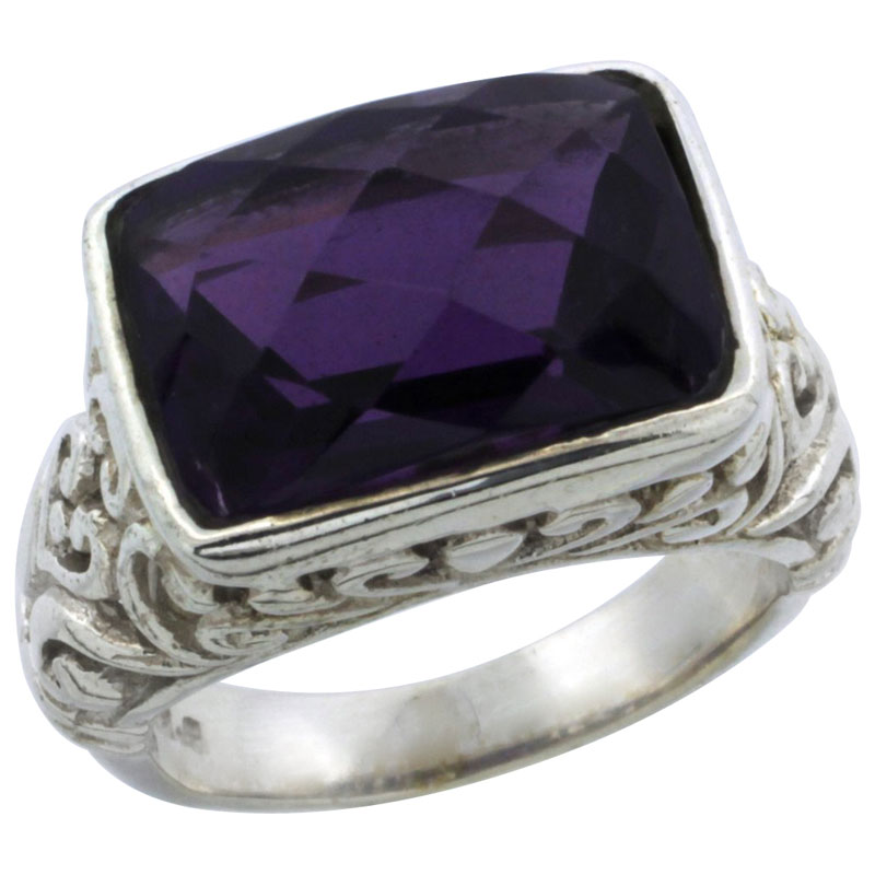 Sterling Silver Bali Inspired Rectangular Filigree Ring w/ 14x10mm Checkerboard Cut Natural Amethyst Stone, 15/32 in. (12 mm) wide