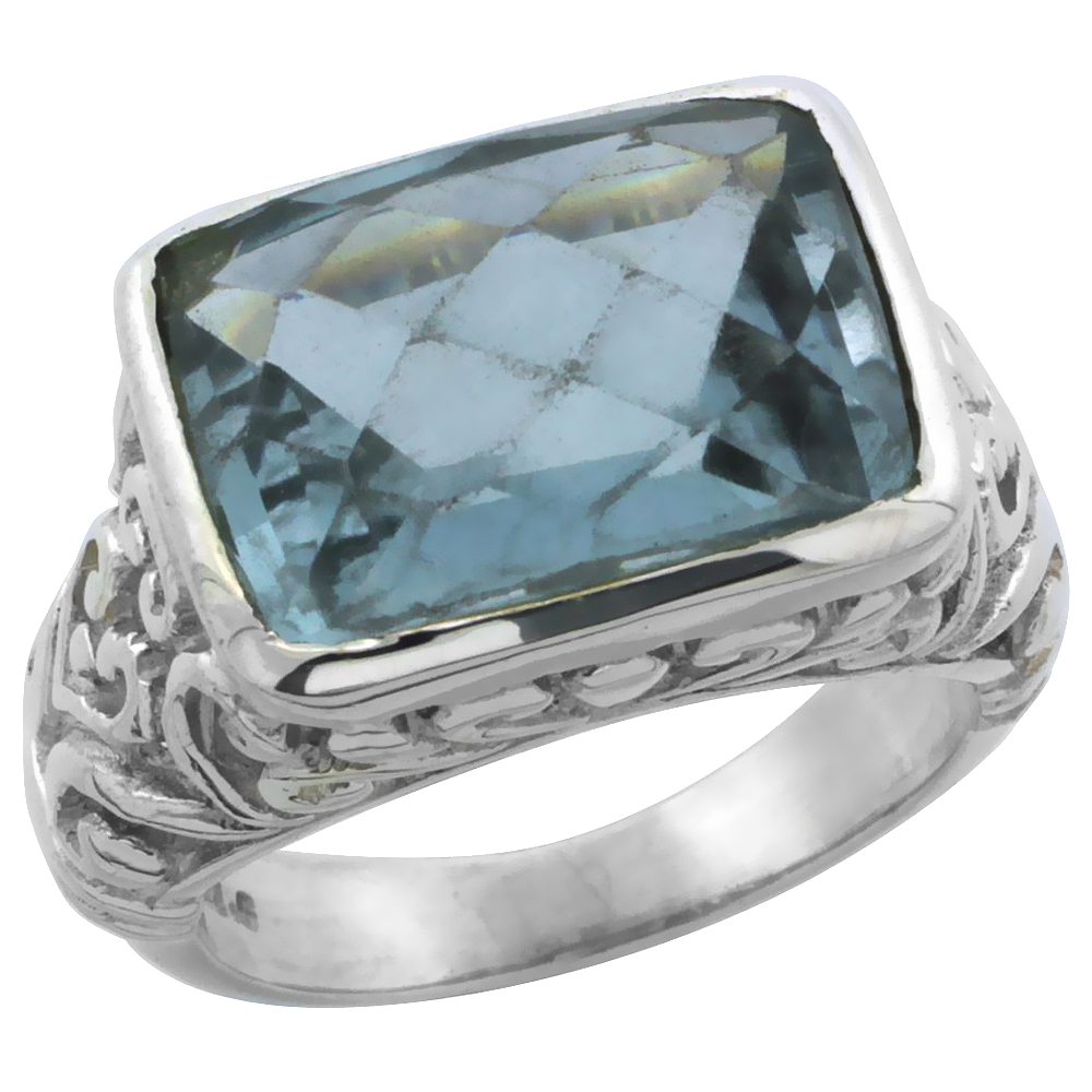 Sterling Silver Bali Inspired Rectangular Filigree Ring w/ 14x10mm Checkerboard Cut Natural Blue Topaz Stone, 15/32 in. (12 mm)