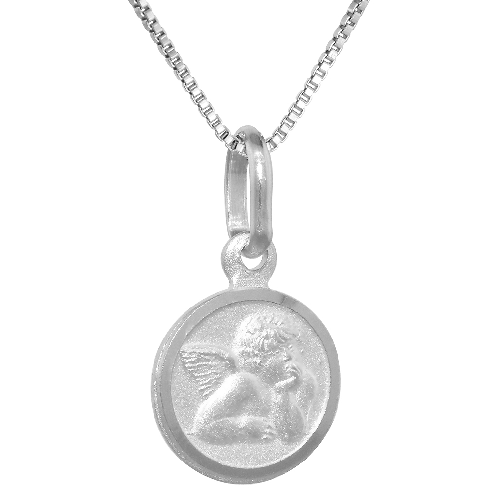 10mm Very Tiny Sterling Silver Guardian Angel Medal Necklace 3/8 inch Round Nickel Free Italy 16-30 inch