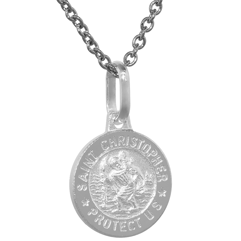 Dainty Sterling Silver St Christopher Medal Necklace 1/2 inch Round Italy,