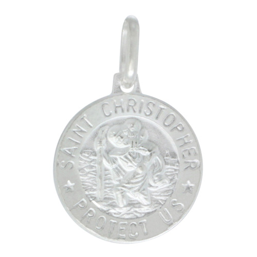 Dainty Sterling Silver St Christopher Medal Necklace Round 5/8 inch Italy