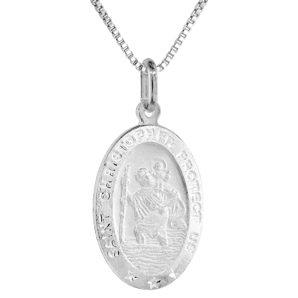 23mm Sterling Silver St Christopher Medal Necklace 7/8 inch Oval Nickel Free Italy