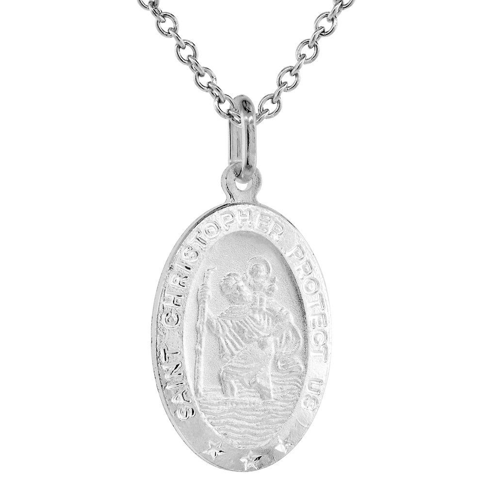Sterling Silver St Christopher Medal Necklace 7/8 inch Oval Italy,