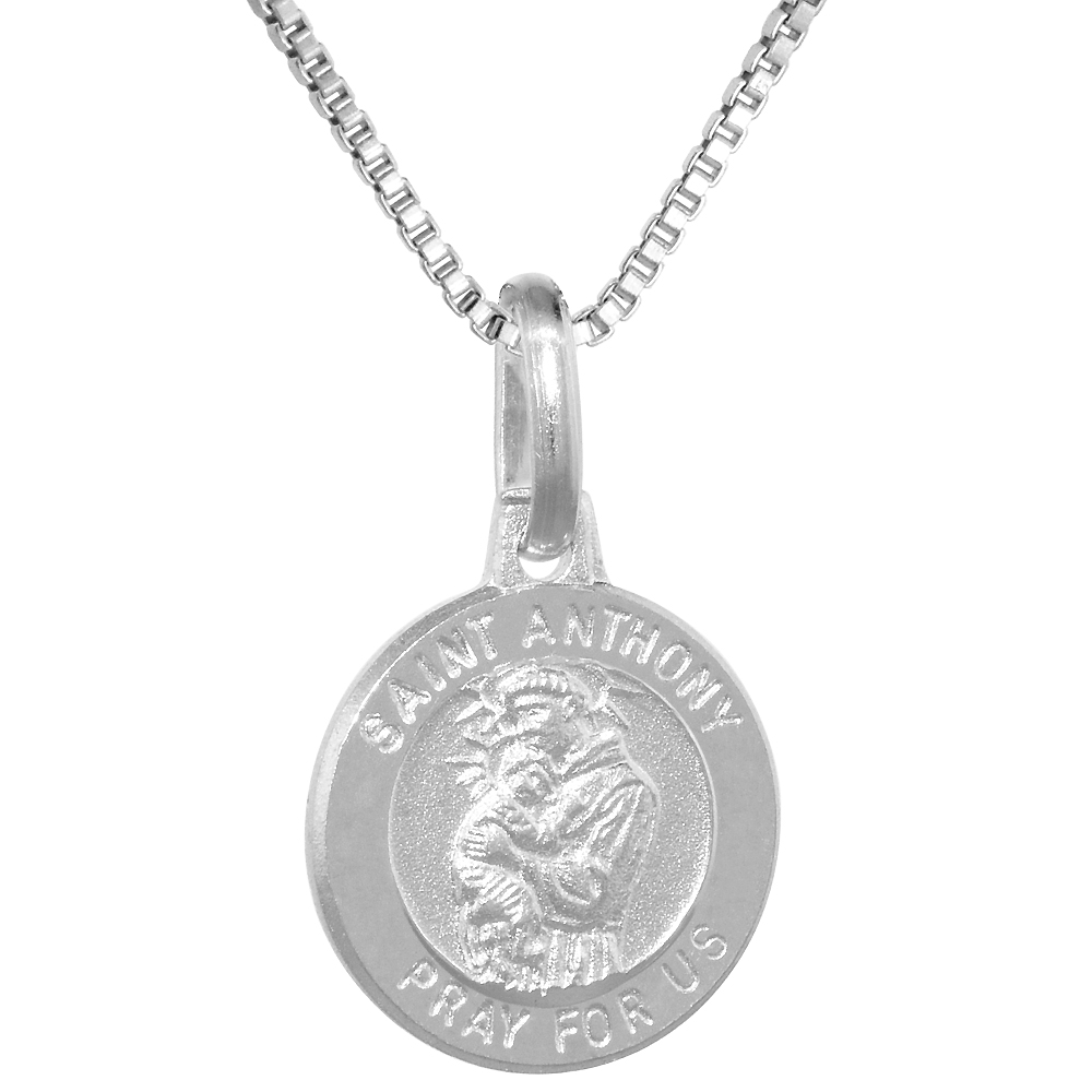 Dainty Sterling Silver St Anthony Medal Necklace 1/2 inch Round Italy, 0.8mm Chain