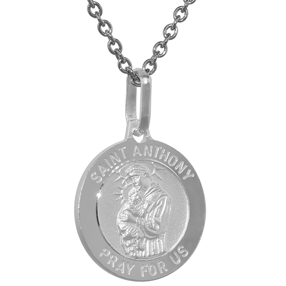 15mm Dainty Sterling Silver St Anthony Medal Necklace 5/8 inch Round Nickel Free Italy with Stainless Steel Chain