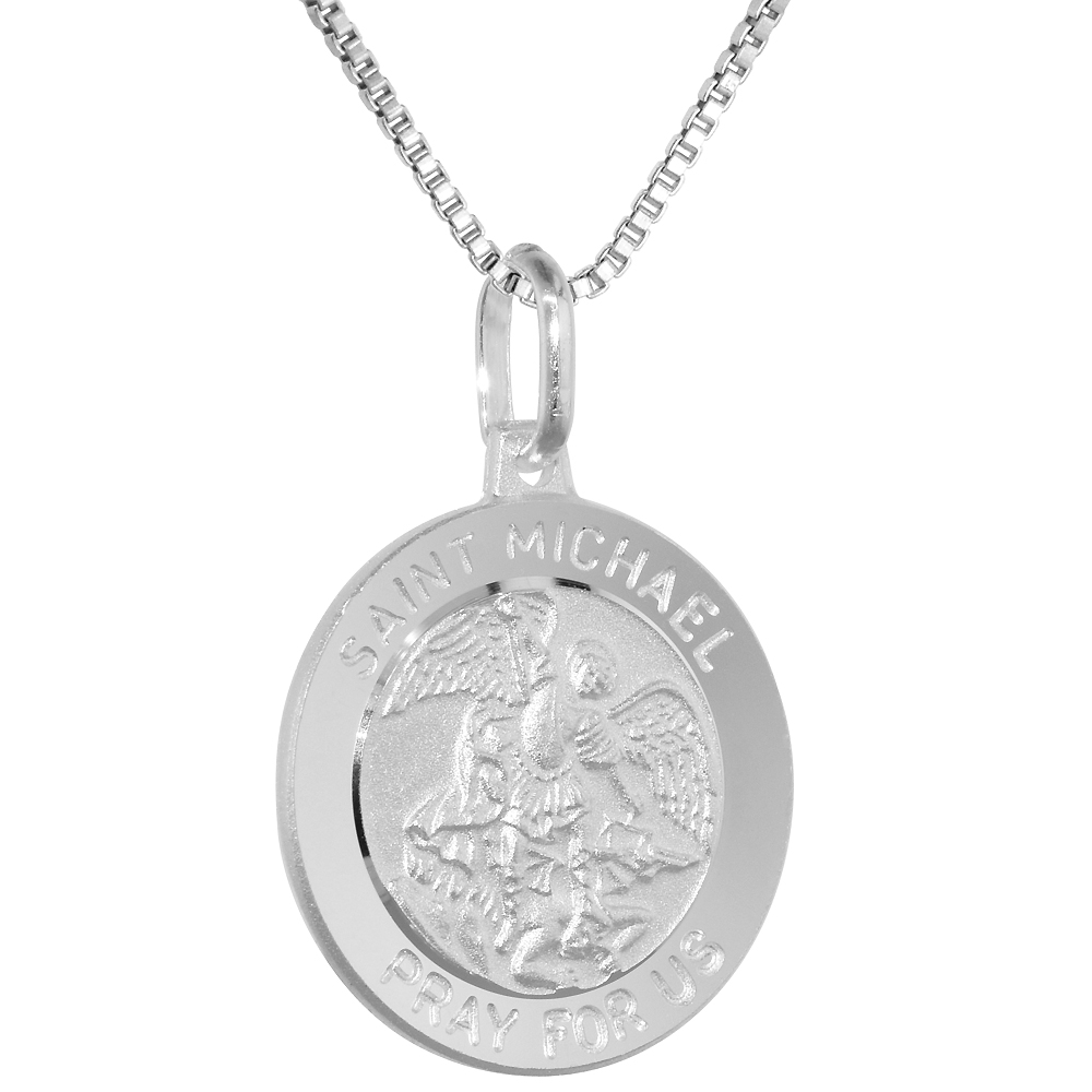 Sterling Silver St Michael Medal Necklace 3/4 inch Round Italy, 0.8mm Chain