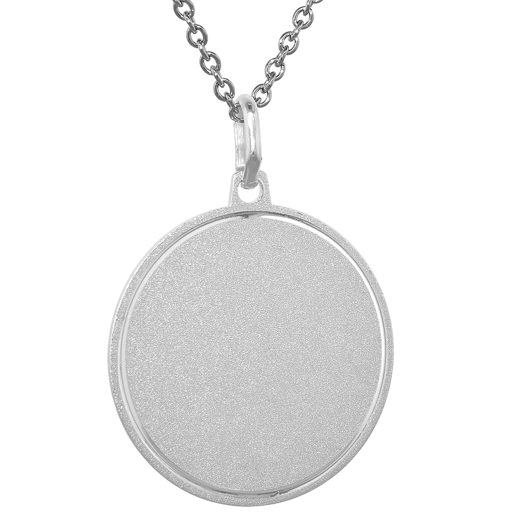 Sterling Silver Disk Pendant Round for Engraving 1 inch Italy