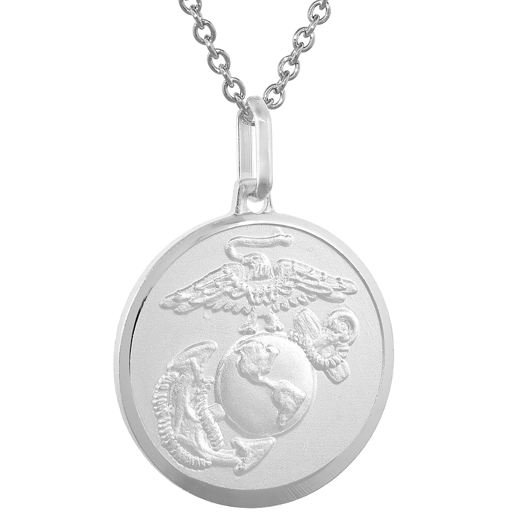 Sterling Silver Eagle Globe and Anchor Necklace EGA 7/8 inch Italy Round